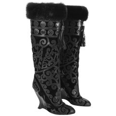 Tom Ford for Yves Saint Laurent Fall 2002 Mink & Leather Boots 38