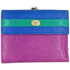 Neiman Marcus Multi-color Trifold Leather Wallet & Change Purse