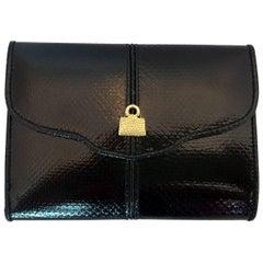 Judith Lieber Black Snake Skin Single Folder Black Leather Wallet