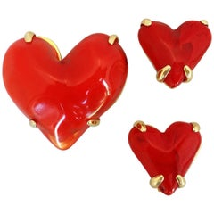 Givenchy Haute Couture Red Lucite Heart Brooch and Earring Set