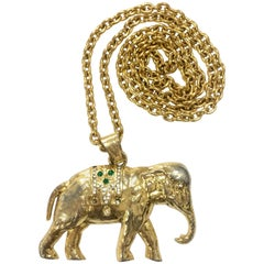 Vintage Sonia Rykiel gold tone large elephant pendant top long chain necklace.
