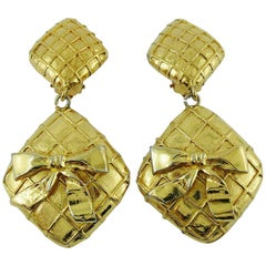 Chanel Vintage Gold Tone Quilted Bow Dangling Earrings