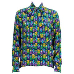 Yves Saint Laurent Silk Multi Colored Blouse Russian Collection 1976
