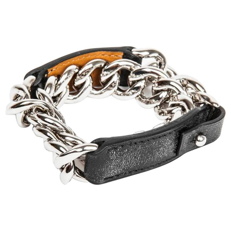 Hermes Bracelet In Black Leather Palladium Silver Metal Chain Size S For