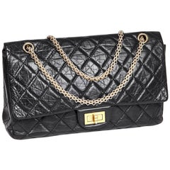 CHANEL 2.55 Double Flap Bag in Black Aged Quilted Lamb Leather