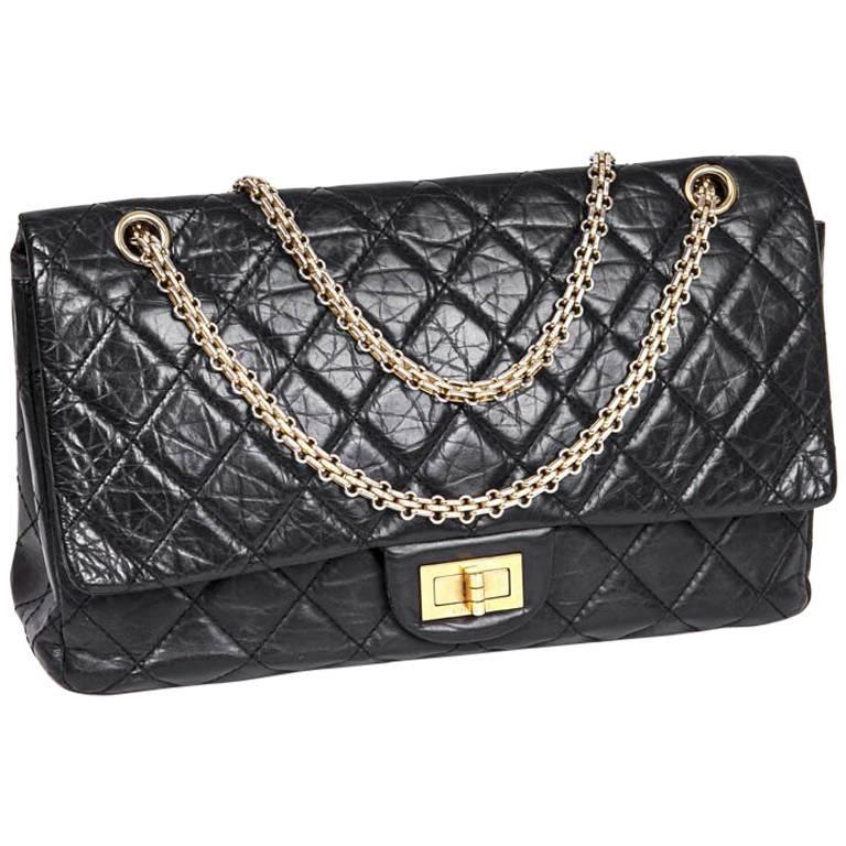 a56125bf85ff CHANEL 2.55 Double Flap Bag in Black Aged Quilted Lamb Leather For Sale at  1stdibs