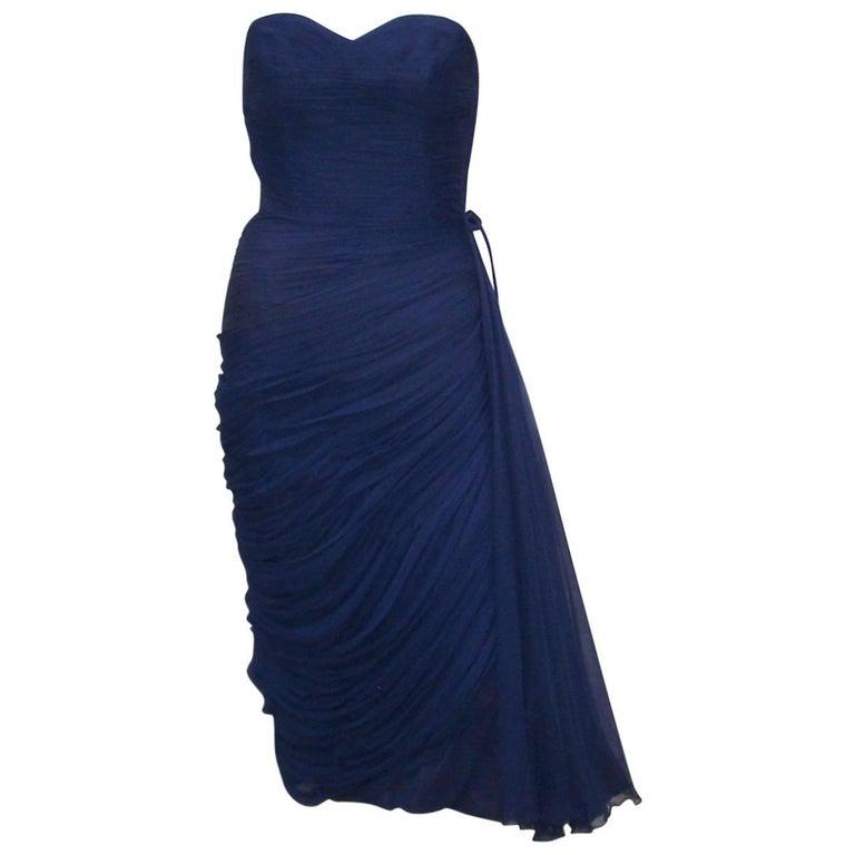 1950's Jean Desses Attributed Nanty Blue Silk Chiffon Goddess Dress