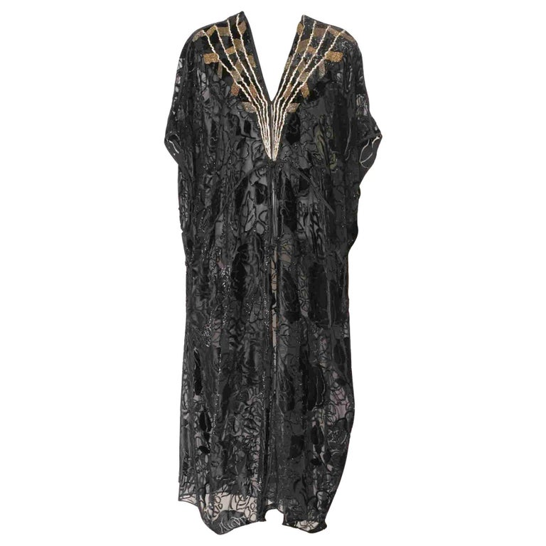 Thea Porter Couture Black Silk Cut-Velvet Gold Embroidered Caftan