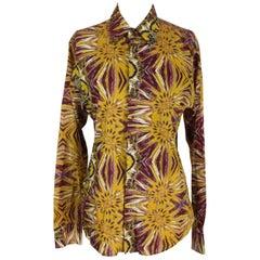 Roberto Cavalli freedom brown flower cotton cufflinks blouse size 48 women's