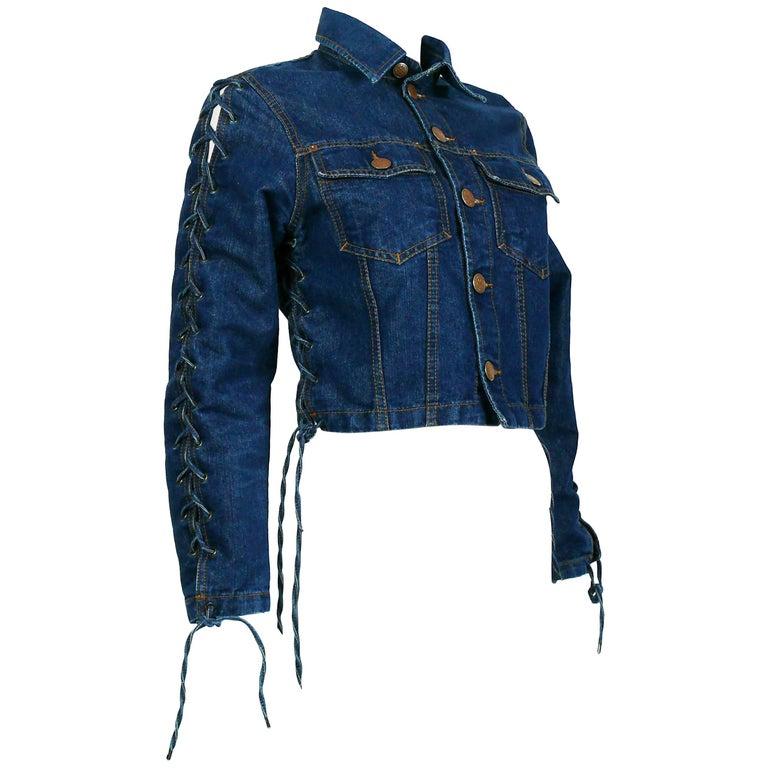 Jean Paul Gaultier Vintage Laced Denim Cropped Jacket For Sale