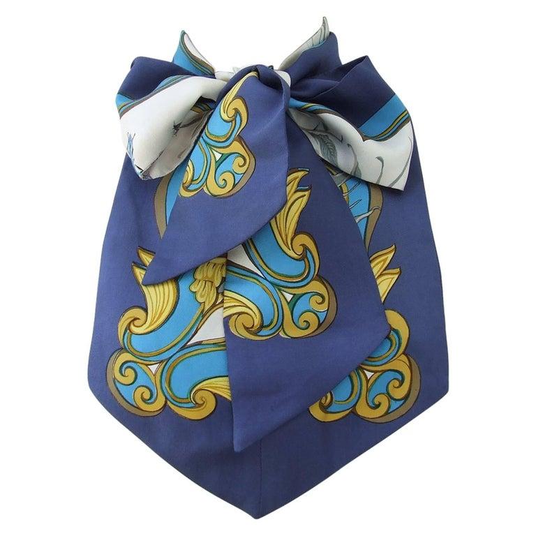 Rare Hermes Silk Scarf Lavalliere Ascot tie Flowers Ingrid Lenke Szechenzyl