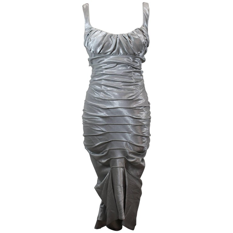 Amazing 2006 Paco Rabanne Silver Dress / Gown. Size 36 French