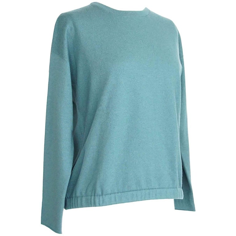Brunello Cucinelli Sweater Teal Cashmere Crewneck Unique Waist Detail S Nwt