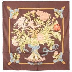 HERMES Vintage Brown Silk Scarf REGINA 1972 Leila Menchari