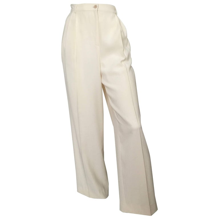 Valentino Cream Pleated Pants with Pockets Size 8.