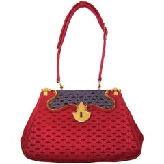 1950's Roberta Di Camerino Ruby Red & Blue Handbag With Outstanding Hardware