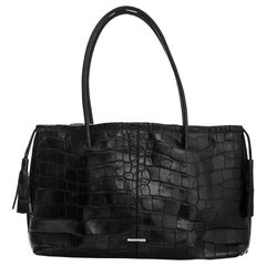 Gucci Black Crocodile Tote Bag with DB