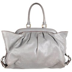 FENDI Gray Leather DOCTOR TOTE BAG