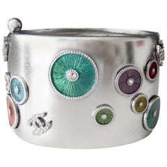 Chanel Millennium Silvered Cuff with Enameled Design