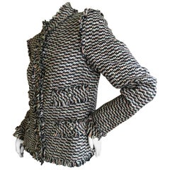 Chanel Black and White Fringe Fantasy Tweed Jacket from Spring 2004