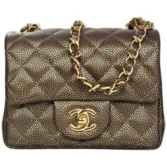 Chanel Dark Gold Caviar Square Mini Flap Bag with Box and DB