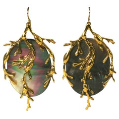 "Gray Mother of Pearl ""Seaweed"" Earrings, MWLC"