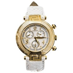 Versace White Python Reve Diamond Bezel Watch RT. $3,500