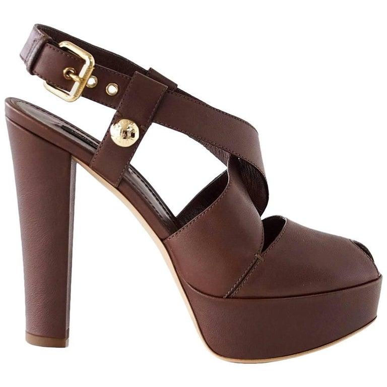 f504d3dbd36f Louis Vuitton Shoe Bold Strap Peeptoe Platform 39   9 New For Sale ...