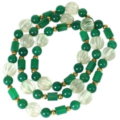 Fluted Rock Crystal and Green Onyx Beads