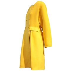 1980s Valentino Couture Cashmere Double-Breasted Yellow Coat w Full Skirt
