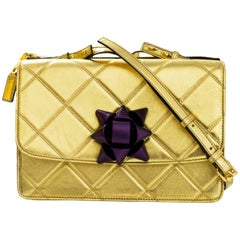 Marc Jacobs Gold Quilted Crossbody Bag  w/ Purple Bow