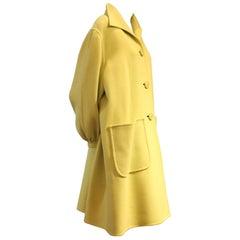 1980s Valentino Couture Pistachio Cashmere Swing Coat w Balloon Cuff and Pockets