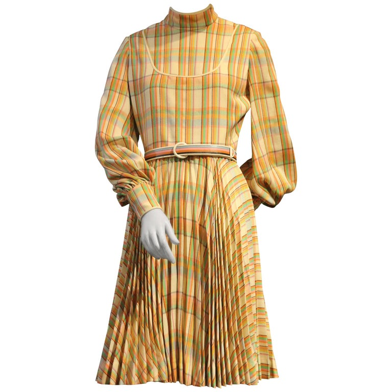 1960s James Galanos Wool Challis Pastel Plaid Dress w Full Bias Pleated Skirt