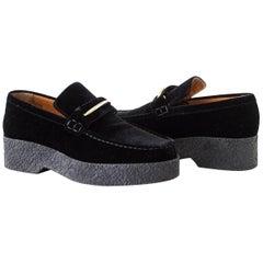 Celine Shoe Sleek Black Velvet Platform Loafer  39 / 9  New