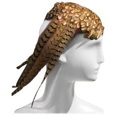 "1980s Stuart Jay Pheasant Feather Hat with Side ""Wing"""