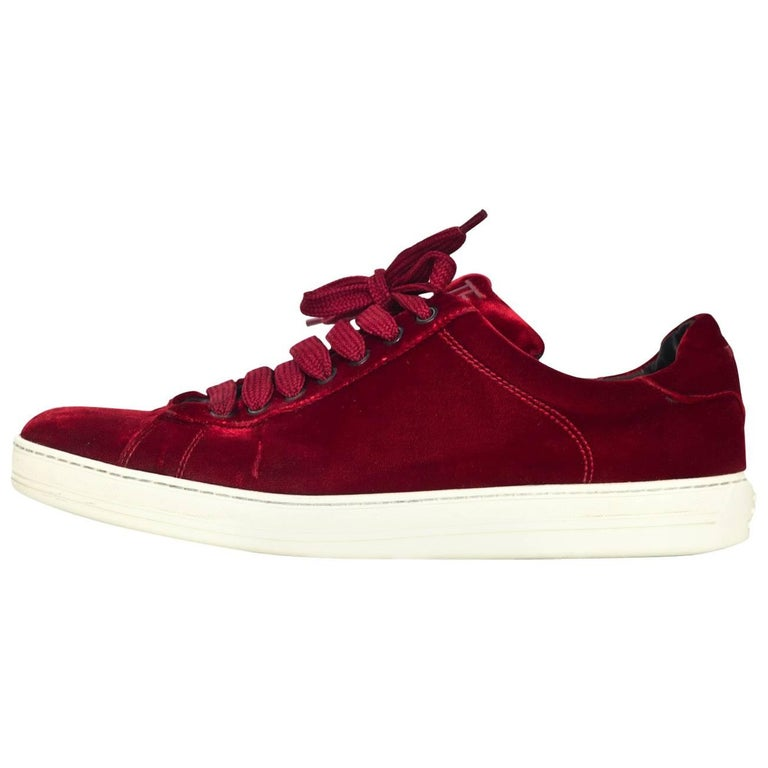 d8f4c9be4d8b Tom Ford Men s Red Velvet Russell Sneakers Sz 10 For Sale at 1stdibs