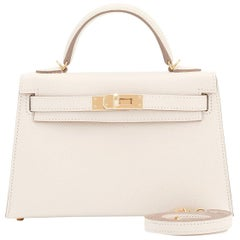 Hermes Craie Kelly 20cm Mini Off White Shoulder Bag Limited Edition VIP