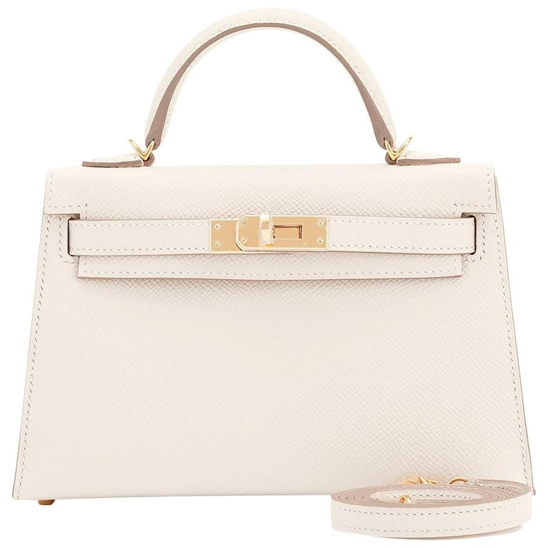 Hermes Craie Kelly 20cm Mini Off White Shoulder Bag Limited Edition VIP