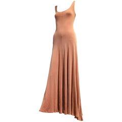1970s  Stephen Burrows Red/White Rayon Rib-Knit Matte Jersey Maxi Dress