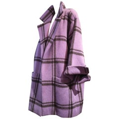 1986 Christian Dior Mohair Purple and Black Window Pane Plaid Oversized Coat