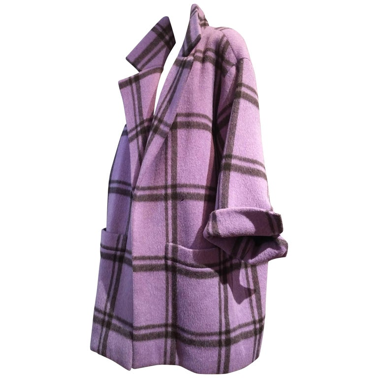1985 Christian Dior Couture Mohair Purple and Black Window Pane Coat