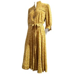 1940s Eisenberg and Sons Gold Floral Print Silk Crepe Dress w/ Original Buttons