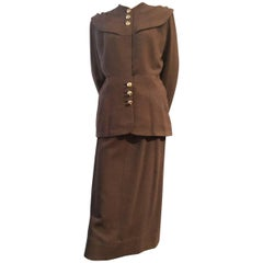 1940s Adrian Original Chocolate Brown Wool Suit w Large Rounded Collar / Caplet