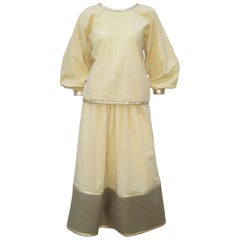 Effortless 1970's Geoffrey Beene Cotton & Gold Lamé Evening Dress