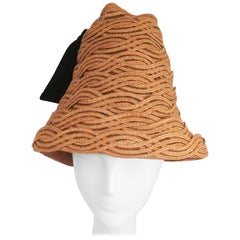 1960s Braided Straw Cone Hat w/ Velvet Ribbon