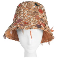 1960s Straw Summer Mermaid Cloche w/ Sequins
