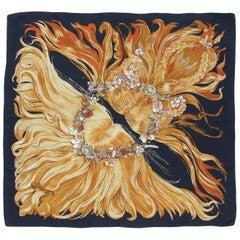 Rare Hermes Silk Scarf Eva Philippe Dumas Black 90 cm