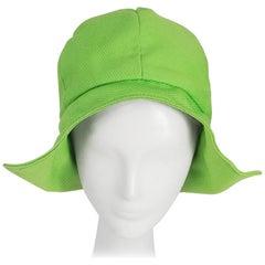 1960s Lime Green Mod Summer Cloche Hat