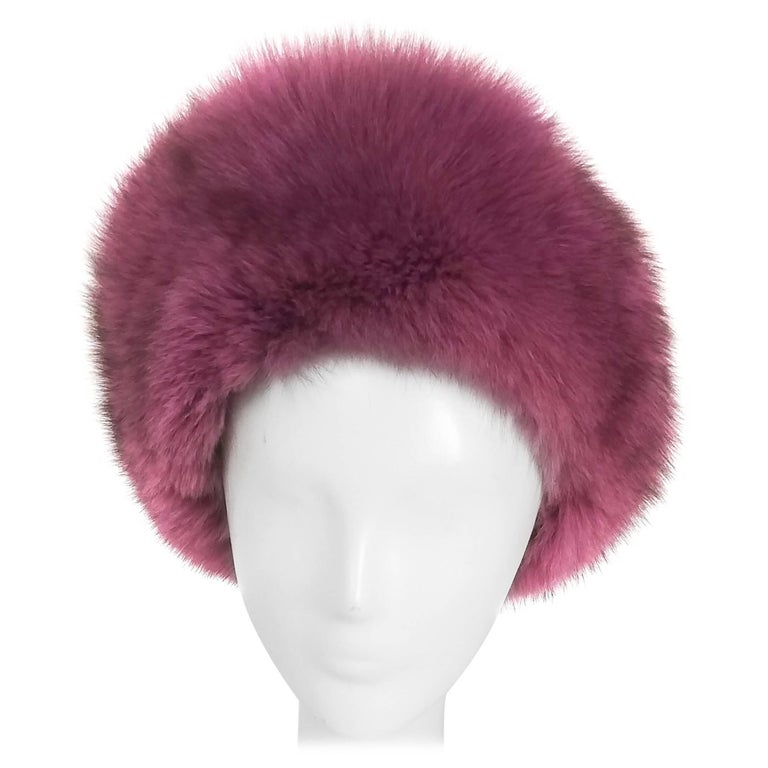 1960s Purple Fox Fur and Leather Hat