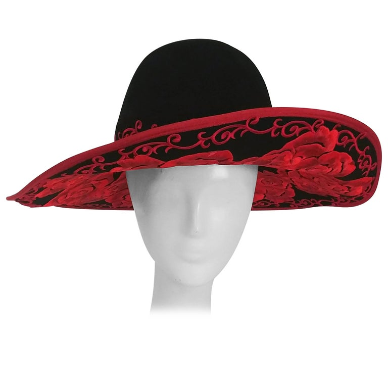 1980s Kokin Black Wide Brim Hat w/ Red Embroidered Roses For Sale